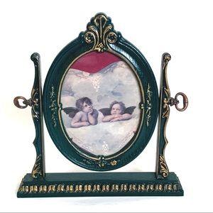 Vintage British Plastic Wood Oval Tilt Photo Frame